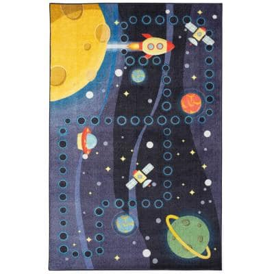 Space Rocket Multi 5 ft. x 8 ft. Contemporary Area Rug