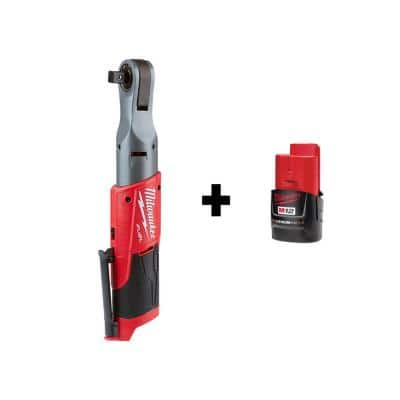 M12 FUEL 12-Volt Lithium-Ion Brushless Cordless 1/2 in. Ratchet with M12 2.0Ah Battery