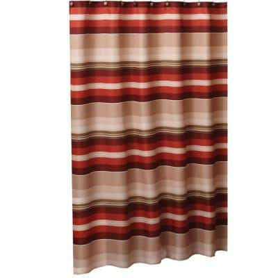 Madison Stripe 72 in. W x 72 in. L Fabric Shower Curtain in Red