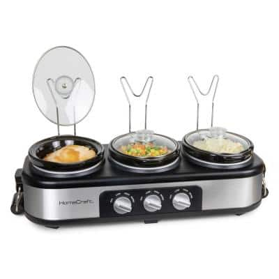 3-Station 1.5 qt. Stainless Steel Slow Cooker Buffet