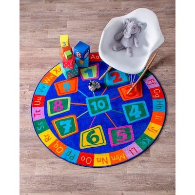Number Circles Playmat Blue 5' Round Rug