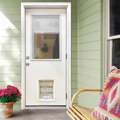 32 in. x 80 in. Classic Clear Mini-Blind LHOS White Primed Fiberglass Prehung Back Door with XL Pet Door
