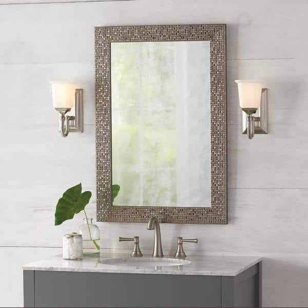 Home Decorators Collection 24 In W X 35 In H Framed Rectangular Anti Fog Bathroom Vanity Mirror In Silver 81159 The Home Depot