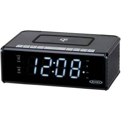 Black Dual Alarm Clock Radio with Qi Charging