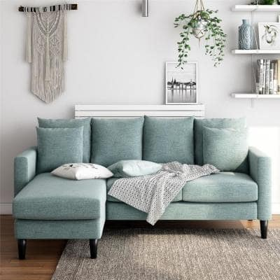 Henderson 2-Piece Teal Polyester 3-Seater L-Shaped Reversible Sectional Sofa with Removable Cushions