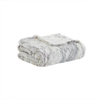 Marselle Natural Marble 50 in. x 70 in. Oversized Faux Fur Heated Throw