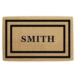 22 in x 36 in Heavy Duty Coco Black Thin Double Picture Frame, Personalized Door Mat