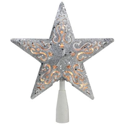 8.5 in. Silver Glitter Star Cut-Out Design Christmas Tree Topper - Clear Lights