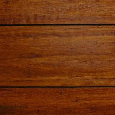 Take Home Sample - Strand Woven Distressed Dark Honey Solid Bamboo Flooring - 5 in. x 7 in.