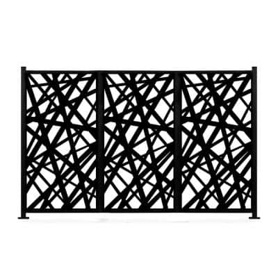 48 in. x 72 in. New Style MetalArt Laser Cut Metal Black Privacy Fence Screen Set, AlgebraStrike, 2 Pole with 3 Panel