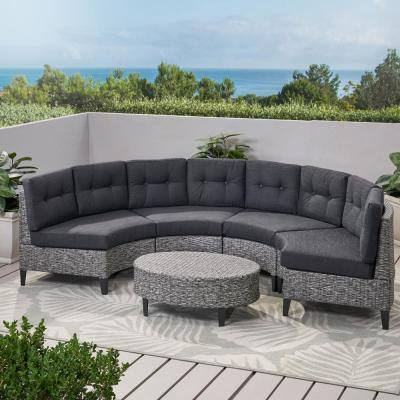 Navagio Mix Black 5-Piece Wicker Outdoor Sectional Set with Dark Grey Cushions