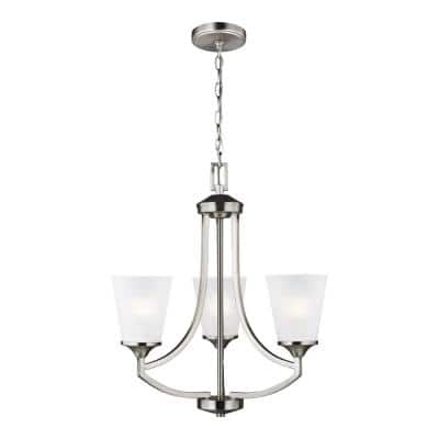 Hanford 3-Light Brushed Nickel  Traditional Transitional Hanging Empire Chandelier with Satin Etched Glass Shades