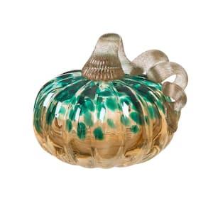 4.13 in. H Pumpkin Gold Glitter Small Glass in Blue