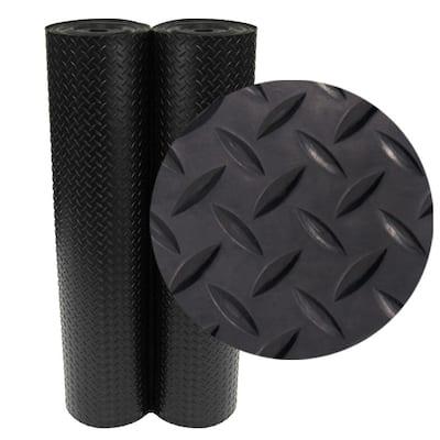 Diamond Plate 4 ft. x 10 ft. Black Rubber Flooring (40 sq. ft.)