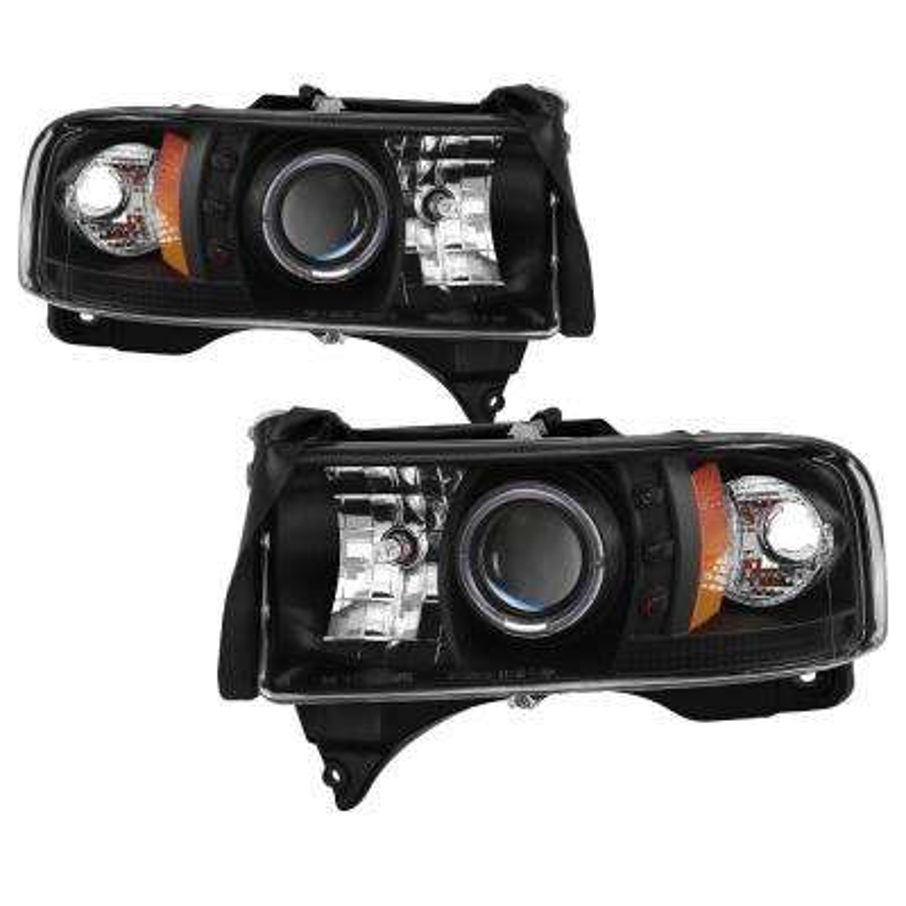 Dodge Ram 1500 94-01 / Ram 2500/3500 94-02 / 99-01 Ram Sport - Projector Headlights - LED Halo- Black