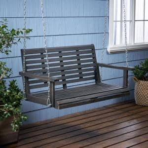 Tasmania Dark Grey 49.5 in. 2-Person Wood Porch Swing