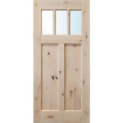 36 in. x 79 in. 3-Lite Clear Glass Unfinished Knotty Alder Front Door Slab