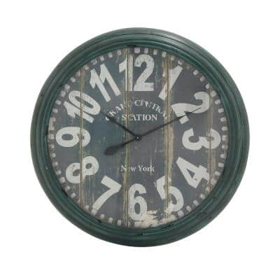 Traditional 37 in. Distressed Green Iron Framed Vintage Wall Clock