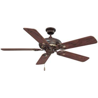 52 in. Vintage Bronze with Antique Gold Ceiling Fan