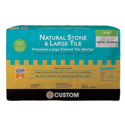 Natural Stone and Large Tile 50 lb. White Premium Mortar
