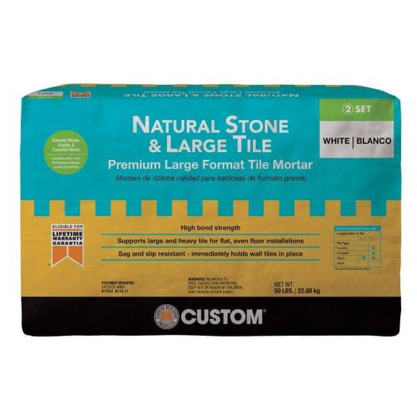 Custom Building Products Natural Stone And Large Tile 50 Lb White Premium Mortar Mgmm50 The Home Depot