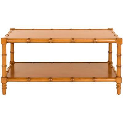 Noam 39 in. Brown Medium Rectangle Wood Coffee Table with Shelf