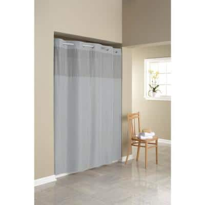 Simply Solid 70 in. Microfiber White Shower Curtain Frost Grey