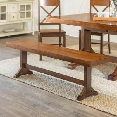 "60"" Traditional Wood Trestle Dining Bench - Antique Brown"