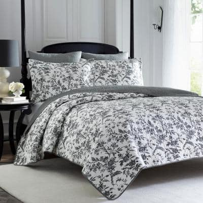 Amberley 3-Piece Black and White Floral Cotton Full/Queen Quilt Set