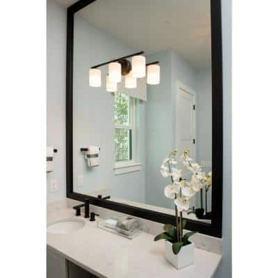 Replay Collection 3-Light Antique Bronze Etched White Glass Modern Bath Vanity Light