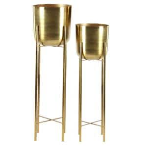 Modern 12 in. x 46 in., 11 in. x 39 in. Large Metallic Iron with Gold Metal Planters with Stands (Set of 2)