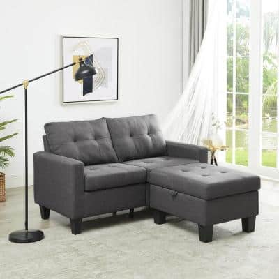 58.27 in. Dark Gray Microfiber 3-Seats Sectional Sofa Loveseat with Ottoman