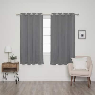 Grey Grommet Blackout Curtain - 52 in. W x 63 in. L  (Set of 2)