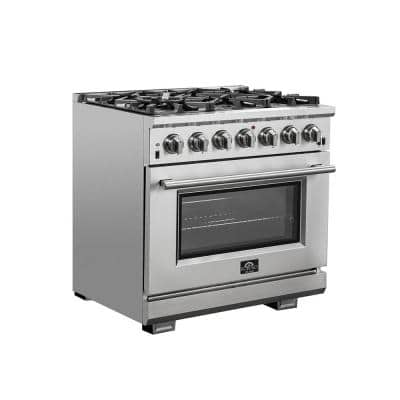 Capriasca 36 in. 5.36 cu. ft. Gas Range with 6 Gas Burners Oven in Stainless Steel