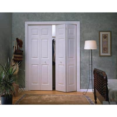 48 in. x 80 in. Colonist Primed Textured Molded Composite MDF Closet Bi-Fold Double Door