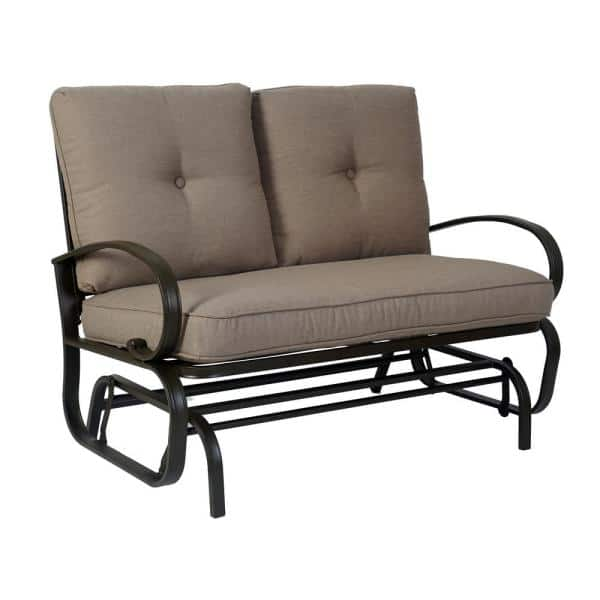 Kozyard Wrought Iron Rocking Love Seats, Outdoor Rocking Bench With Cushions