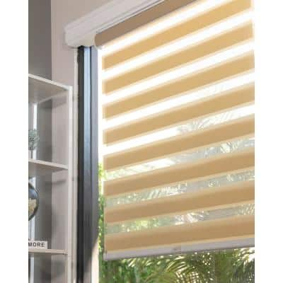 Basic Pearl Cordless Cut-to-Width Light Filtering Dual Layer Zebra Roller Shade 34 in. W x 72 in. L