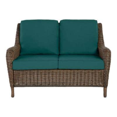 Cambridge Brown Wicker Outdoor Patio Loveseat with CushionGuard Malachite Green Cushions