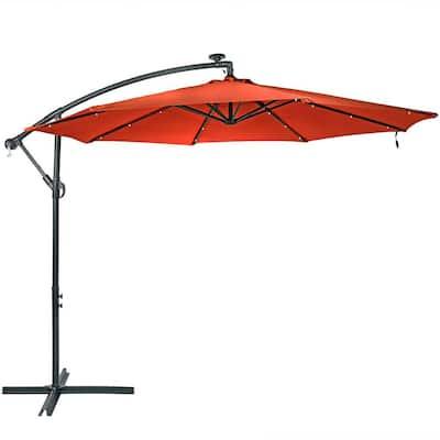 10 ft. Steel Cantilever Solar Patio Umbrella in Burnt Orange