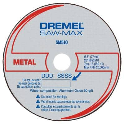 Saw-Max 3 in. Metal Cutoff Wheels for Metal, Brass, Copper Pipe, Conduit, Coated Wire Shelving, Threaded Rod (3-Pack)