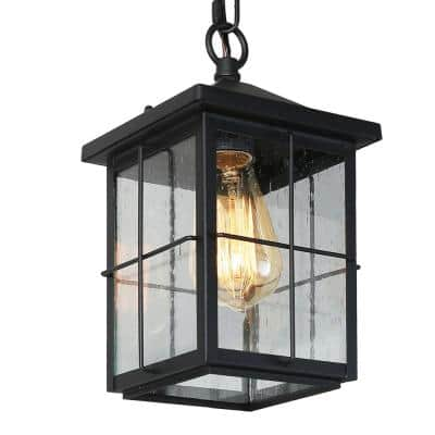 1-Light Modern Farmhouse Coastal Black Outdoor Pendant Light with Seeded Glass Shade