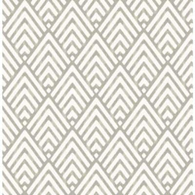 Vertex Taupe Diamond Geometric Paper Strippable Roll (Covers 56.4 sq. ft.)