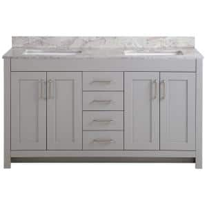 Westcourt 61 in. W x 22 in. D Bath Vanity in Sterling Gray with Stone Effect Vanity Top in Winter Mist with White Sink