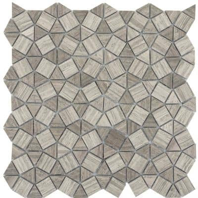 Limestone Gray Honed 11.57 in. x 12.05 in. x 10 mm Limestone Mesh-Mounted Mosaic Tile (0.97 sq. ft.)