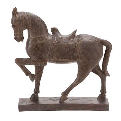 15 in. x 4 in. Decorative Horse Sculpture in Colored Polystone