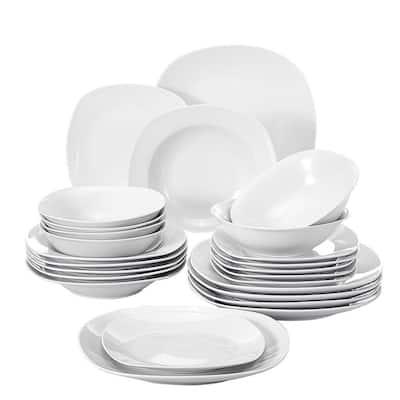 Elisa White Porcelain 24-Piece Casual Ivory White Porcelain Dinnerware Set (Service for 6)