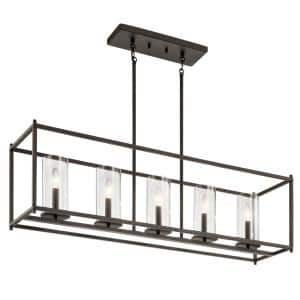 Crosby 5-Light Olde Bronze Linear Chandelier with Clear Glass Shade