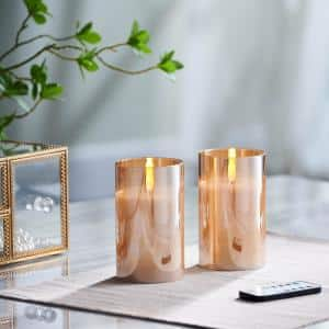 5 in. Gold Mirrored Glass LED Flameless Pillar Candles (Set of 2)