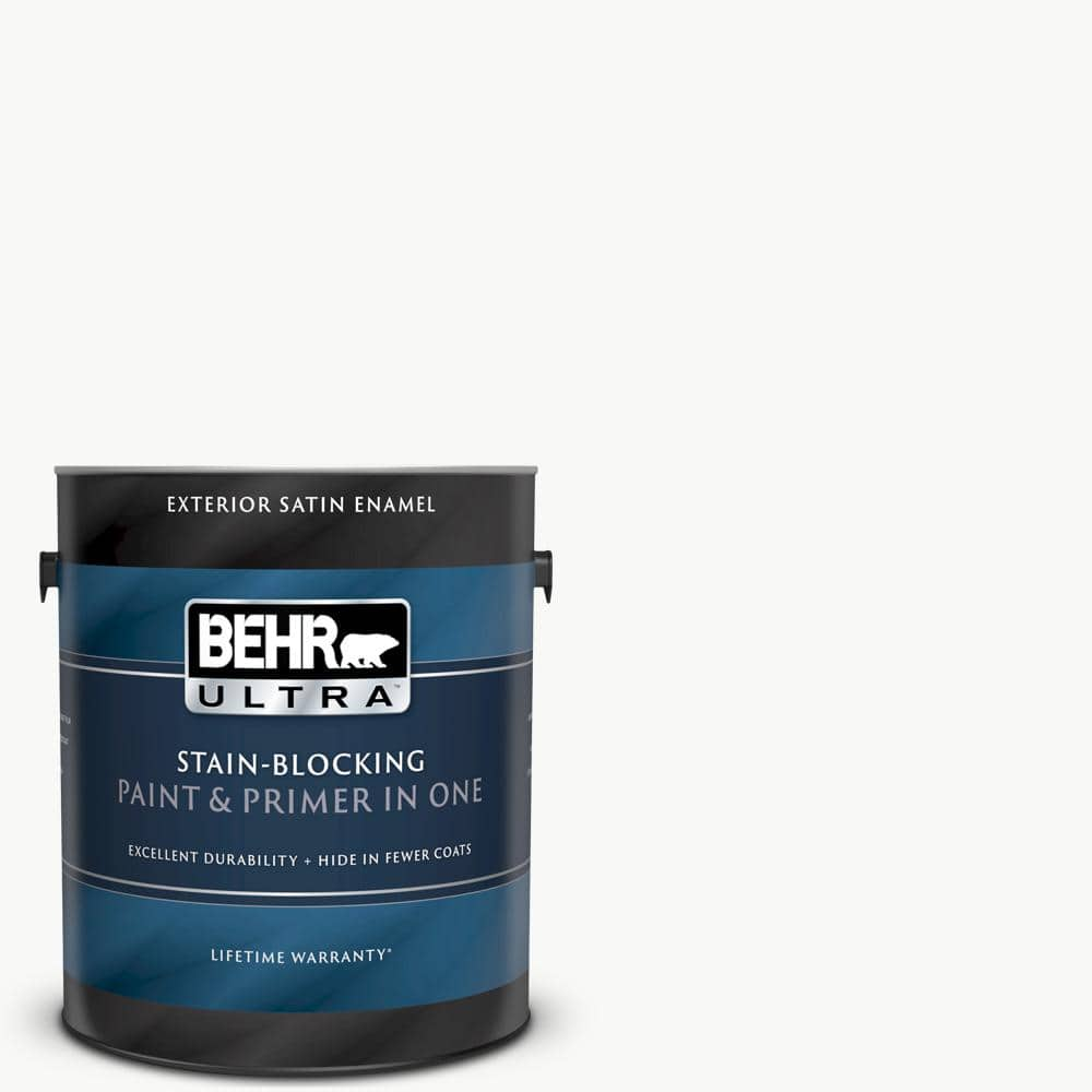 Behr Ultra 1 Gal Ultra Pure White Satin Enamel Exterior Paint And Primer In One 985001 The Home Depot