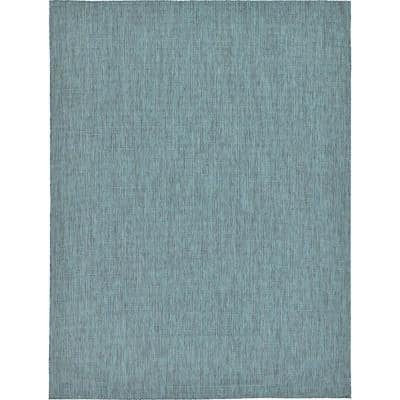 Outdoor Solid Teal 9' 0 x 12' 0 Area Rug